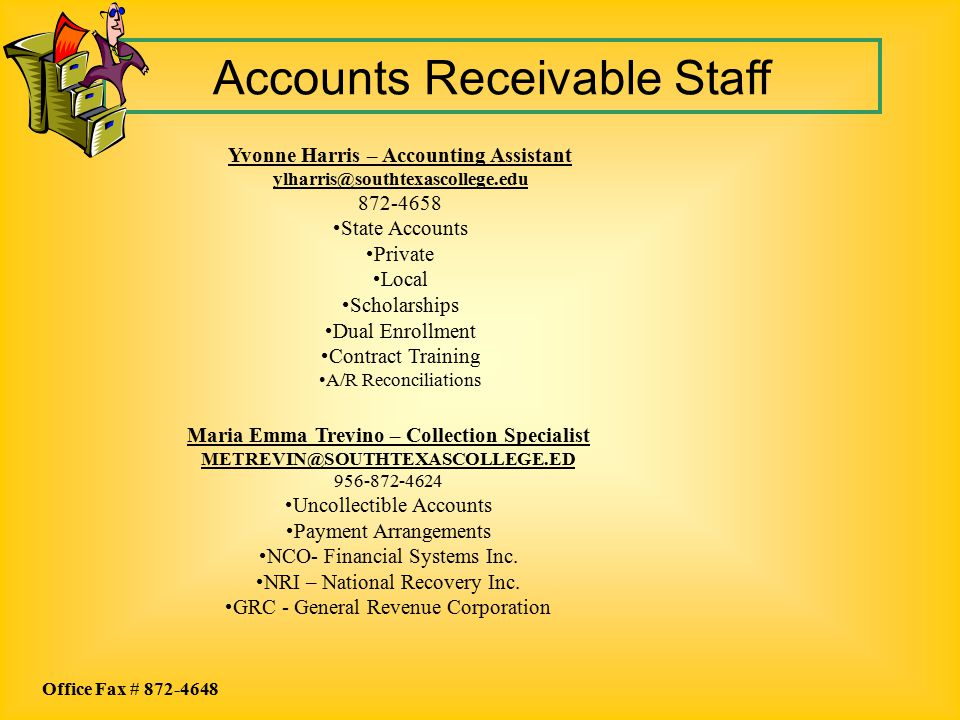 Accounts Receivable Staff Maria Emma Trevino – Collection Specialist METREVIN@SOUTHTEXASCOLLEGE.ED 956-872-4624 Uncollectible Accounts Payment Arrange
