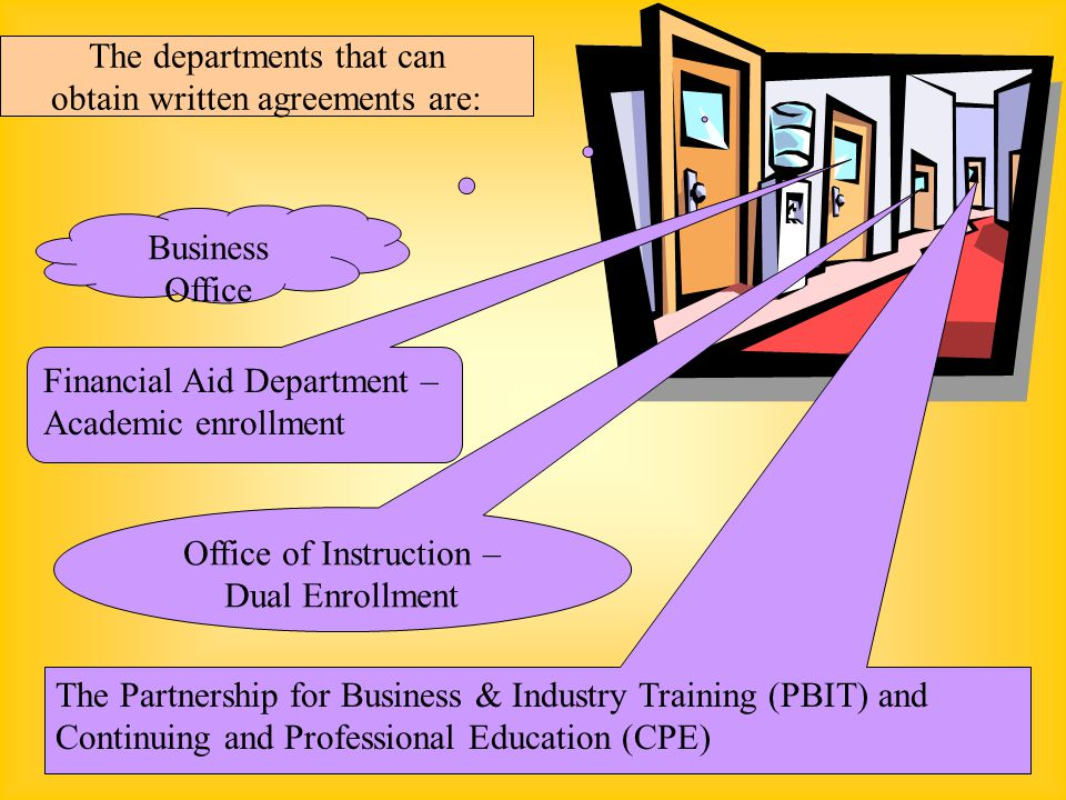 The departments that can obtain written agreements are: Business Office Financial Aid Department – Academic enrollment Office of Instruction – Dual Enrollment The Partnership for Business & Industry Training (PBIT) and Continuing and Professional Education (CPE)