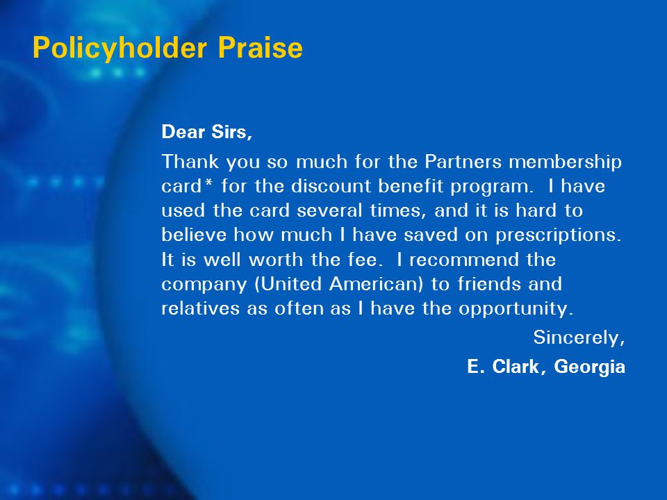 Dear Sirs, Thank you so much for the Partners membership card* for the discount benefit program.