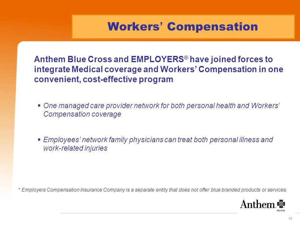 16 Workers ' Compensation Anthem Blue Cross and EMPLOYERS ® have joined forces to integrate Medical coverage and Workers' Compensation in one convenient, cost-effective program  One managed care provider network for both personal health and Workers' Compensation coverage  Employees' network family physicians can treat both personal illness and work-related injuries * Employers Compensation Insurance Company is a separate entity that does not offer blue branded products or services.