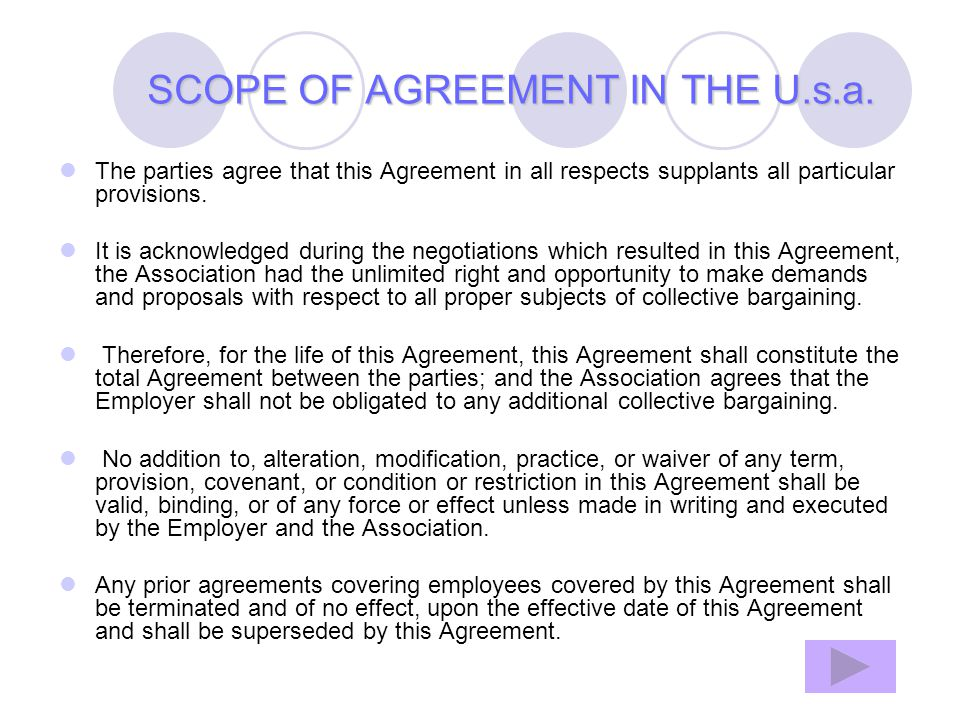 SCOPE OF AGREEMENT IN THE U.s.a.