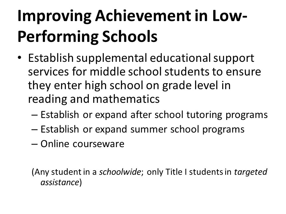 Improving Achievement in Low- Performing Schools Establish supplemental educational support services for middle school students to ensure they enter high school on grade level in reading and mathematics – Establish or expand after school tutoring programs – Establish or expand summer school programs – Online courseware (Any student in a schoolwide; only Title I students in targeted assistance)