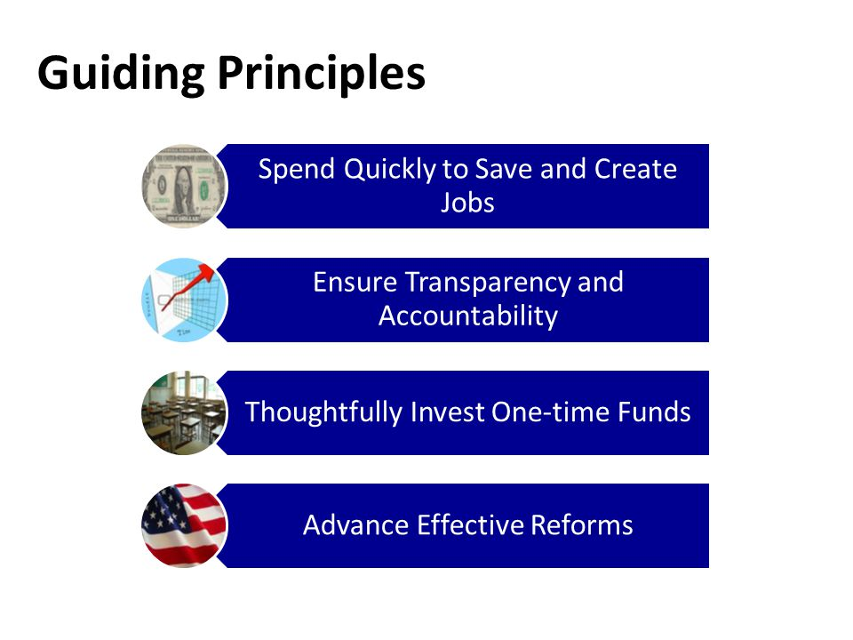 Guiding Principles Spend Quickly to Save and Create Jobs Ensure Transparency and Accountability Thoughtfully Invest One-time Funds Advance Effective Reforms