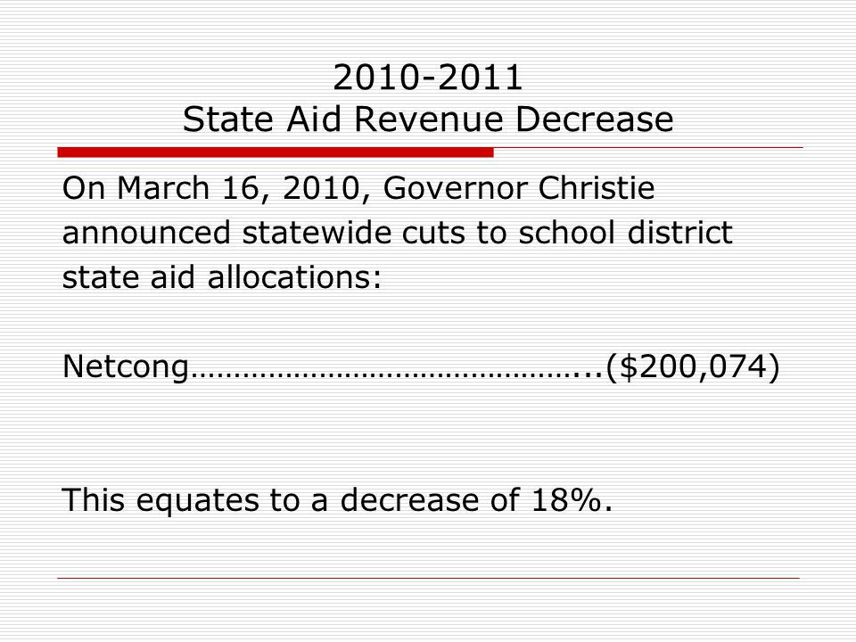 2010-2011 State Aid Revenue Decrease On March 16, 2010, Governor Christie announced statewide cuts to school district state aid allocations: Netcong……