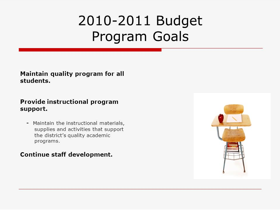 2010-2011 Budget Program Goals Maintain quality program for all students. Provide instructional program support. - Maintain the instructional material