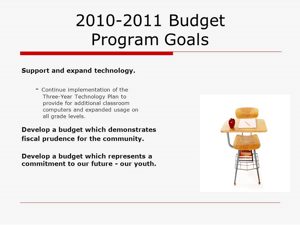 2010-2011 Budget Program Goals Support and expand technology. - Continue implementation of the Three-Year Technology Plan to provide for additional cl