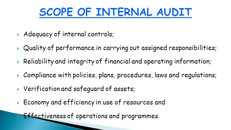  Adequacy of internal controls;  Quality of performance in carrying out assigned responsibilities;  Reliability and integrity of financial and operating information;  Compliance with policies, plans, procedures, laws and regulations;  Verification and safeguard of assets;  Economy and efficiency in use of resources and  Effectiveness of operations and programmes.
