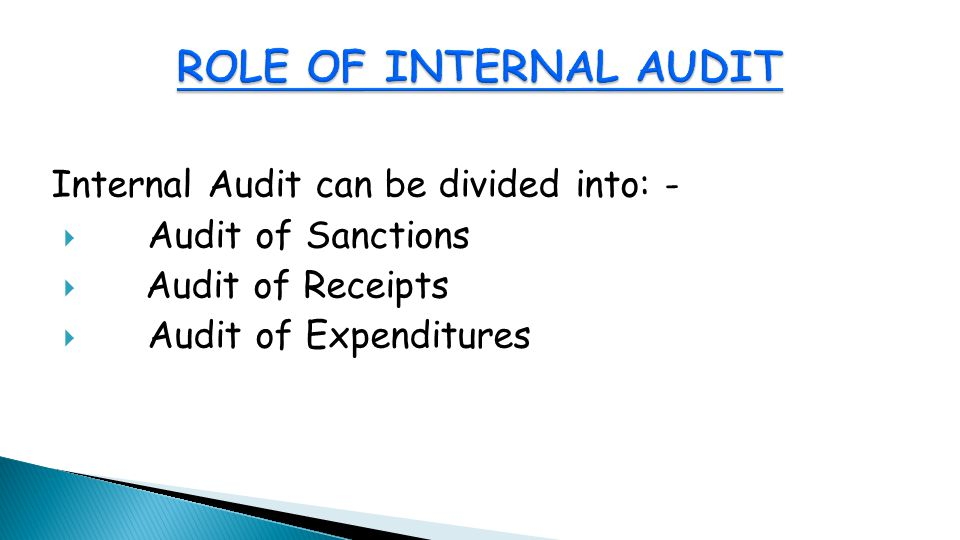 Internal Audit can be divided into: -  Audit of Sanctions  Audit of Receipts  Audit of Expenditures