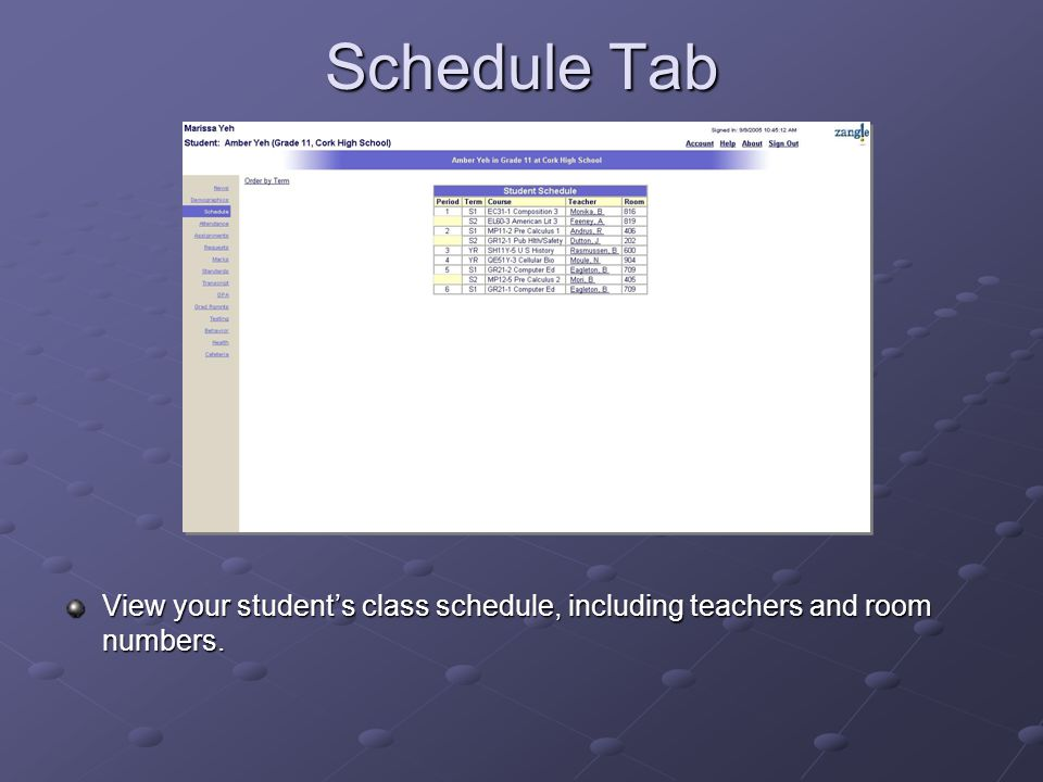 Attendance Tab View your student's attendance records.