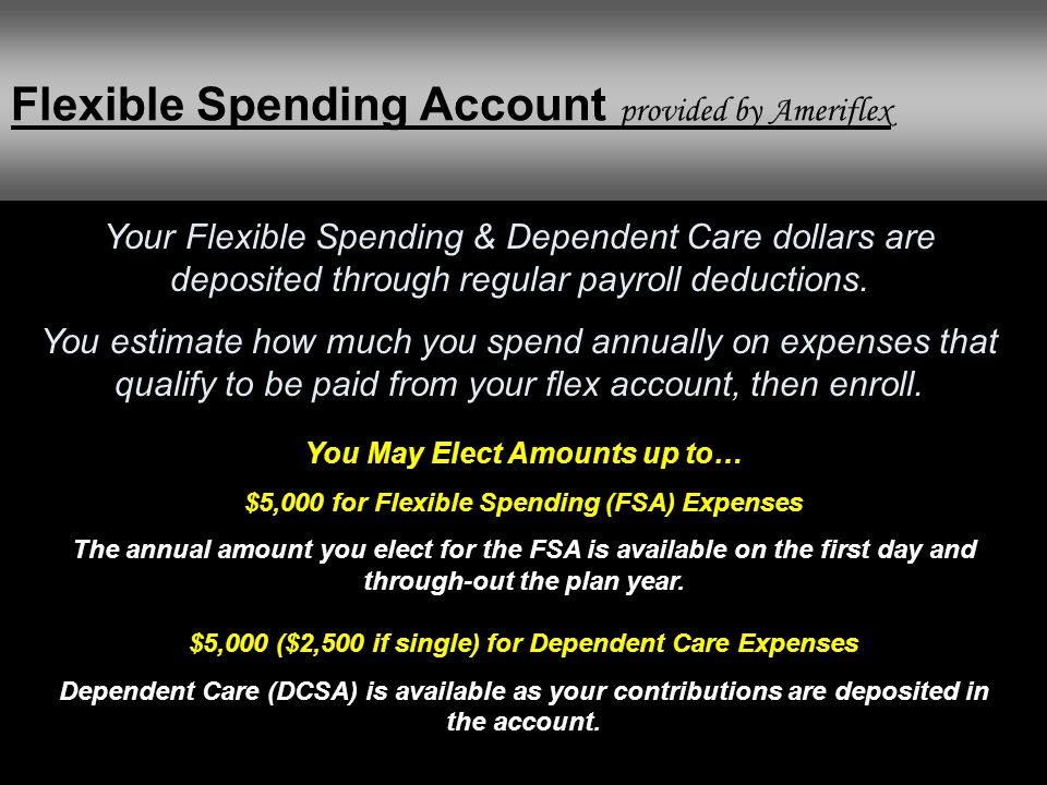 Your Flexible Spending & Dependent Care dollars are deposited through regular payroll deductions.