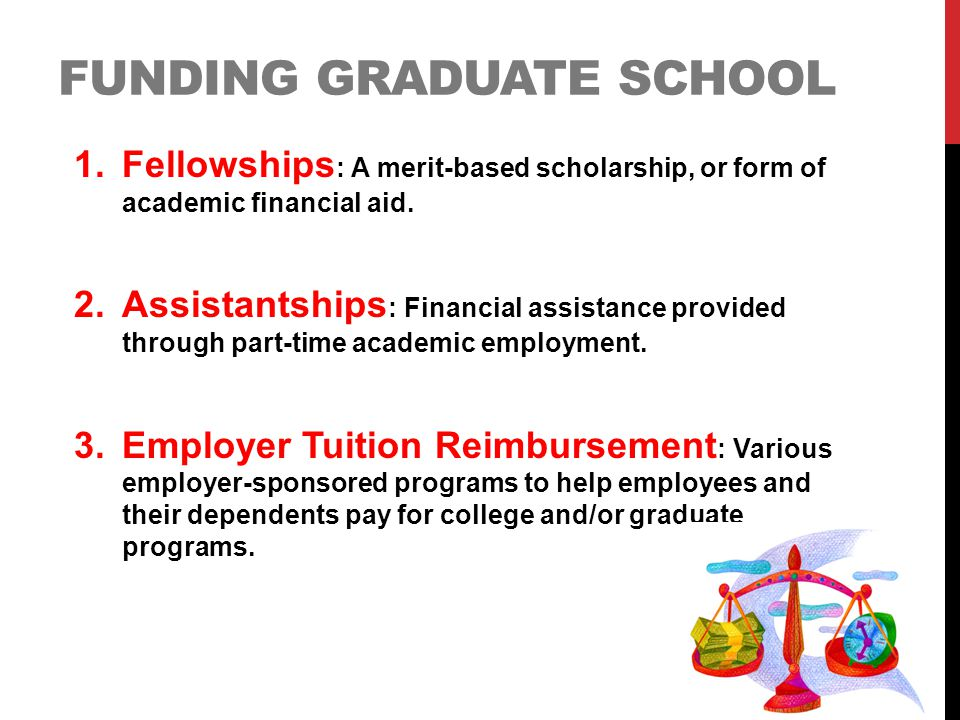 FUNDING GRADUATE SCHOOL 1.Fellowships : A merit-based scholarship, or form of academic financial aid. 2.Assistantships : Financial assistance provided