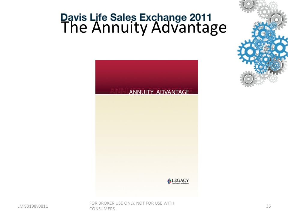The Annuity Advantage LMG3198v081136 FOR BROKER USE ONLY. NOT FOR USE WITH CONSUMERS.