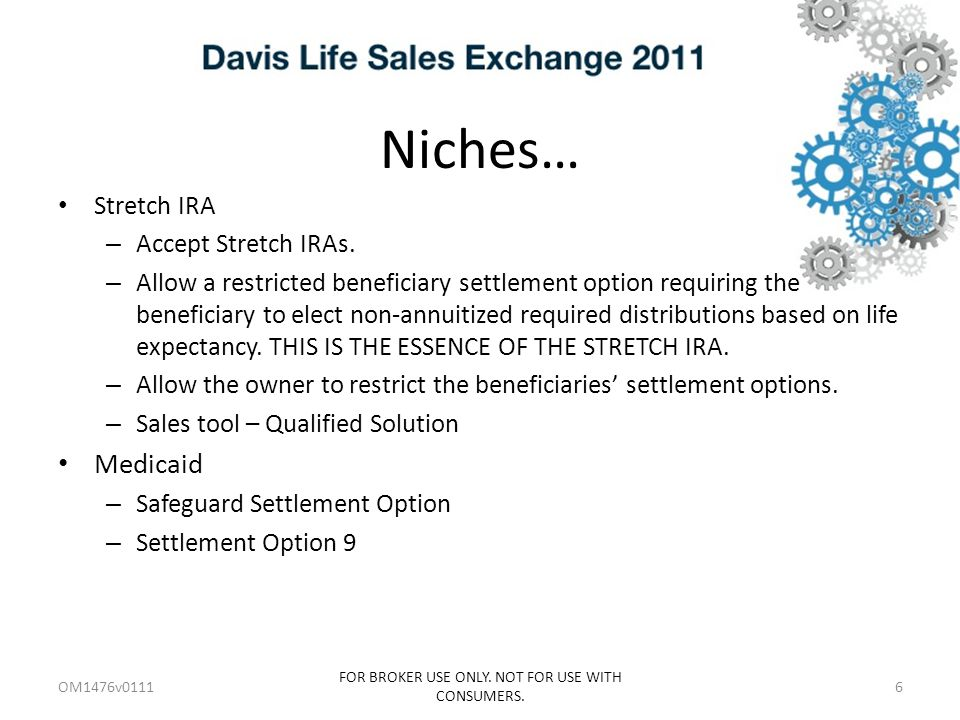 Niches… Stretch IRA – Accept Stretch IRAs.