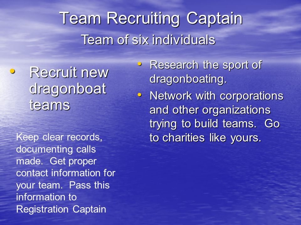 Team Recruiting Captain Recruit new dragonboat teams Recruit new dragonboat teams Research the sport of dragonboating.