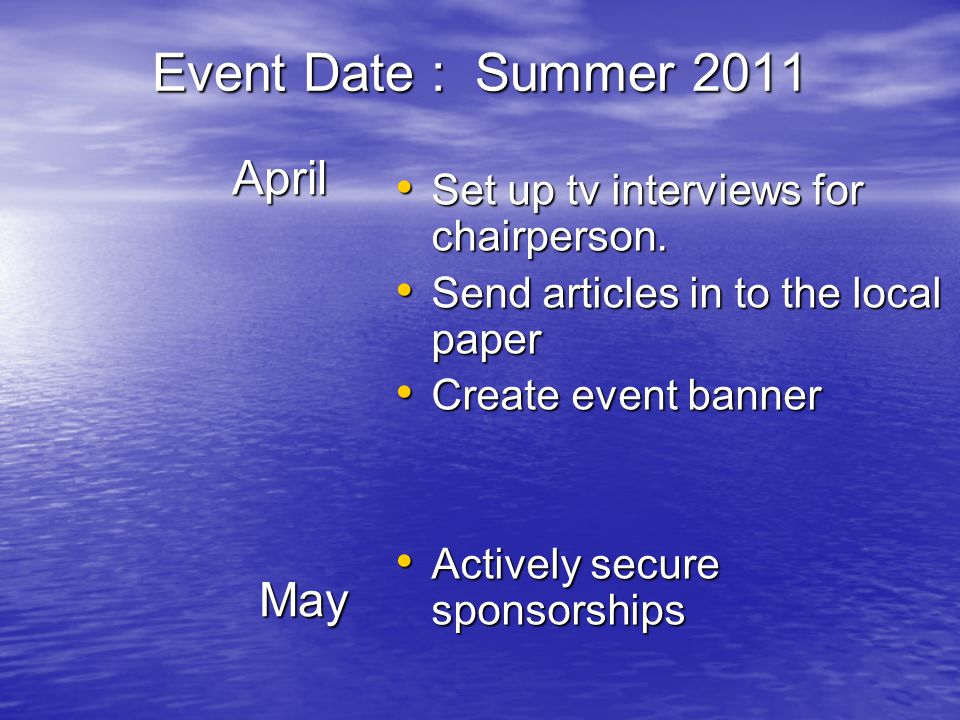 Event Date : Summer 2011 April April May May Set up tv interviews for chairperson.