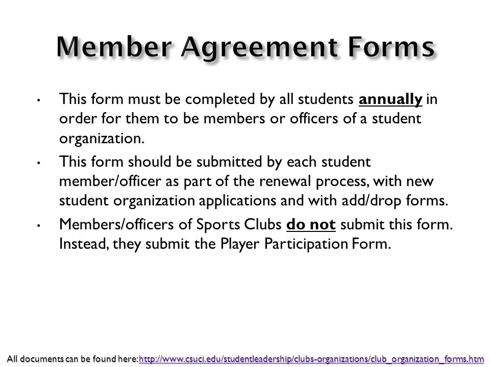 This form must be completed by all students annually in order for them to be members or officers of a student organization.