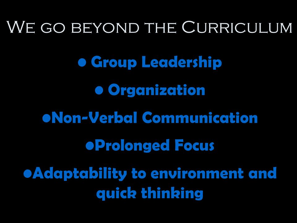 We go beyond the Curriculum Group Leadership Organization Non-Verbal Communication Prolonged Focus Adaptability to environment and quick thinking