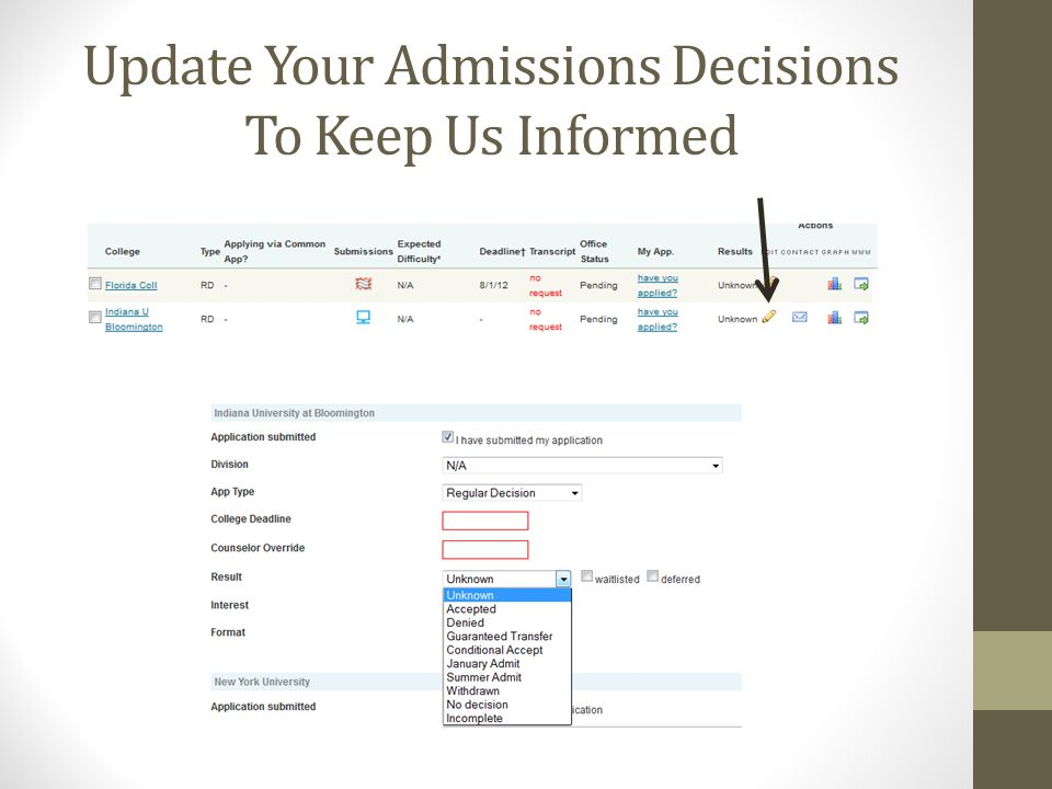 Update Your Admissions Decisions To Keep Us Informed
