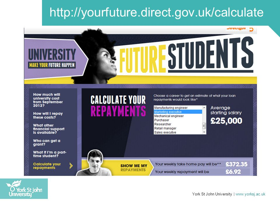 Unpaid balance written off after 30 years York St John University | www.yorksj.ac.uk http://yourfuture.direct.gov.uk/calculate
