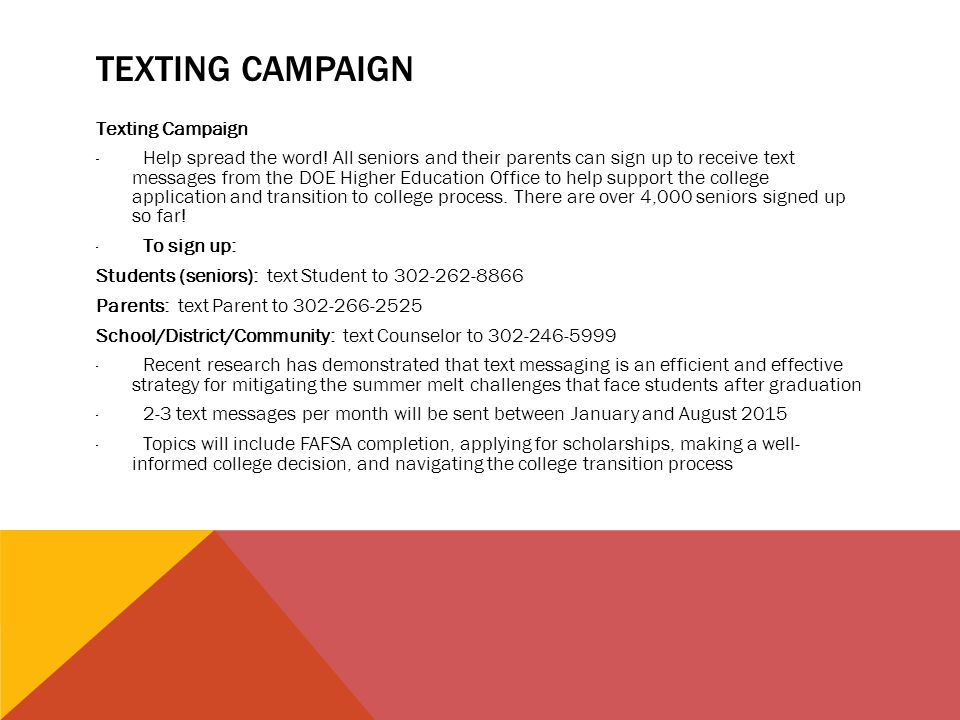TEXTING CAMPAIGN Texting Campaign · Help spread the word.