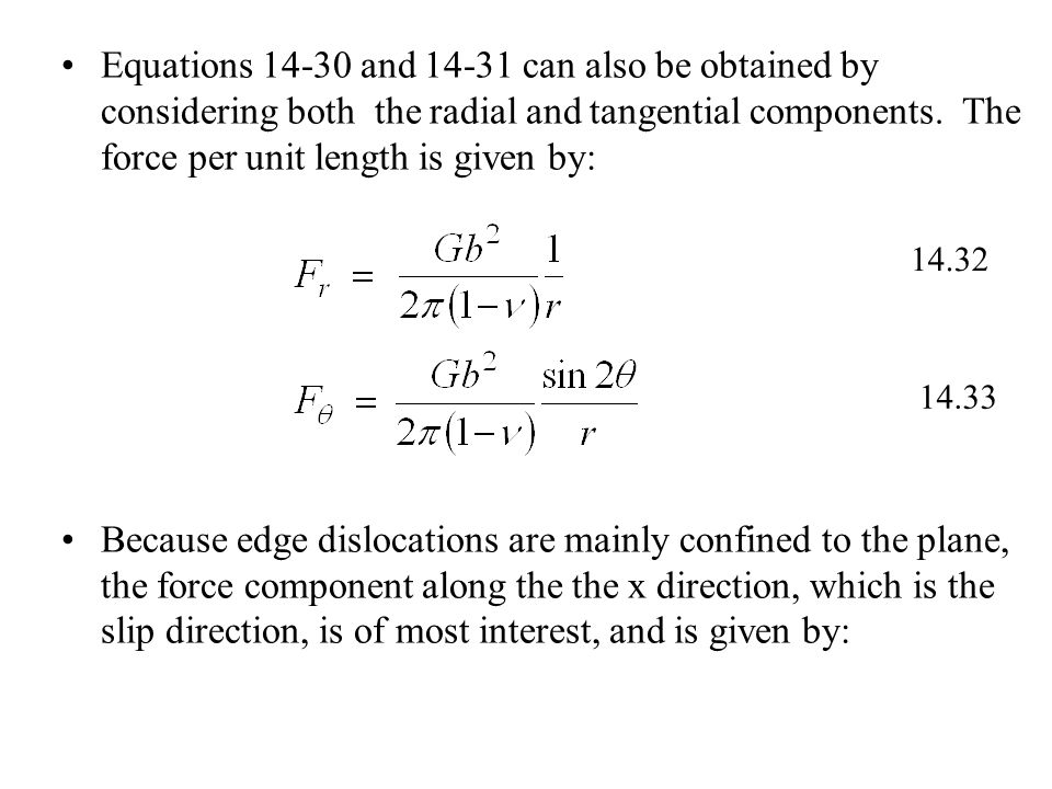Equations 14-30 and 14-31 can also be obtained by considering both the radial and tangential components.
