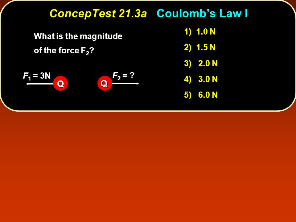 Q Q F 1 = 3N F 2 = ? 1) 1.0 N 2) 1.5 N 3) 2.0 N 4) 3.0 N 5) 6.0 N What is the magnitude of the force F 2 ? ConcepTest 21.3aCoulomb's Law I ConcepTest