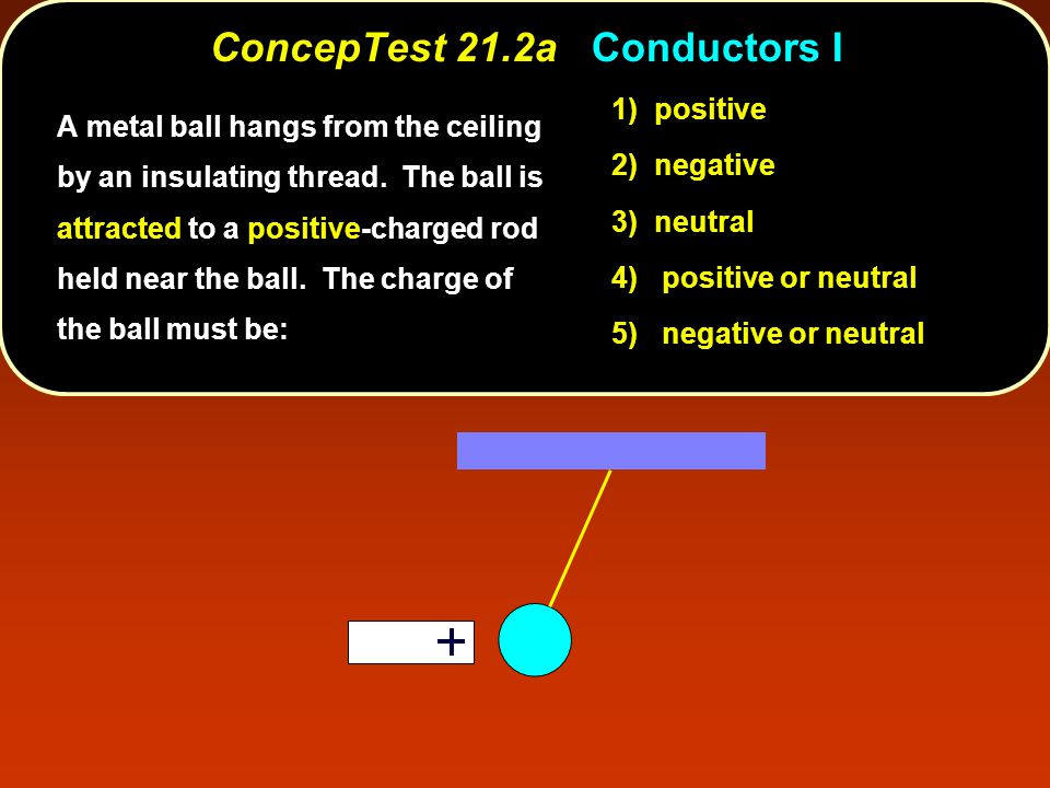 ConcepTest 21.2aConductors I ConcepTest 21.2a Conductors I 1) positive 2) negative 3) neutral 4) positive or neutral 5) negative or neutral A metal ball hangs from the ceiling by an insulating thread.