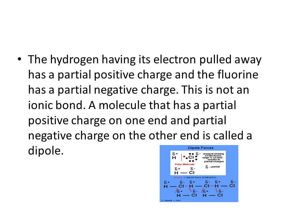 The hydrogen having its electron pulled away has a partial positive charge and the fluorine has a partial negative charge.