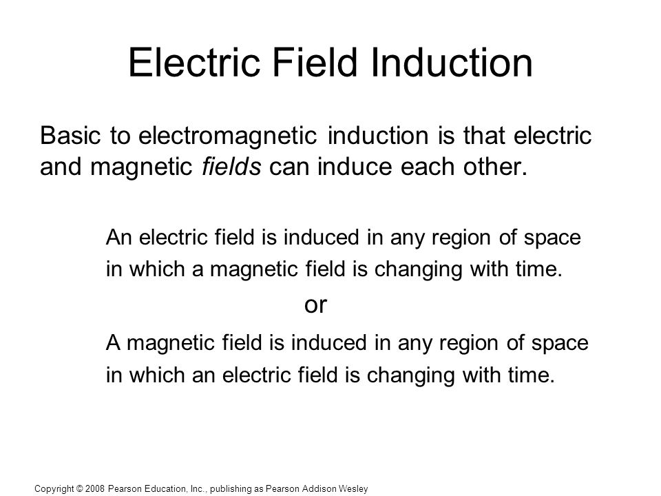 Copyright © 2008 Pearson Education, Inc., publishing as Pearson Addison Wesley Electric Field Induction Basic to electromagnetic induction is that ele
