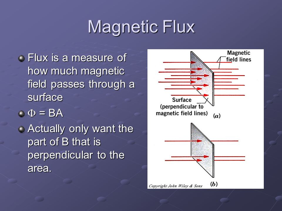 Magnetic Flux Flux is a measure of how much magnetic field passes through a surface  = BA Actually only want the part of B that is perpendicular to the area.