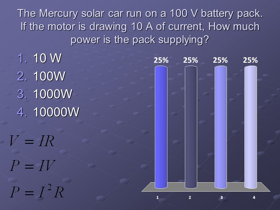 The Mercury solar car run on a 100 V battery pack.