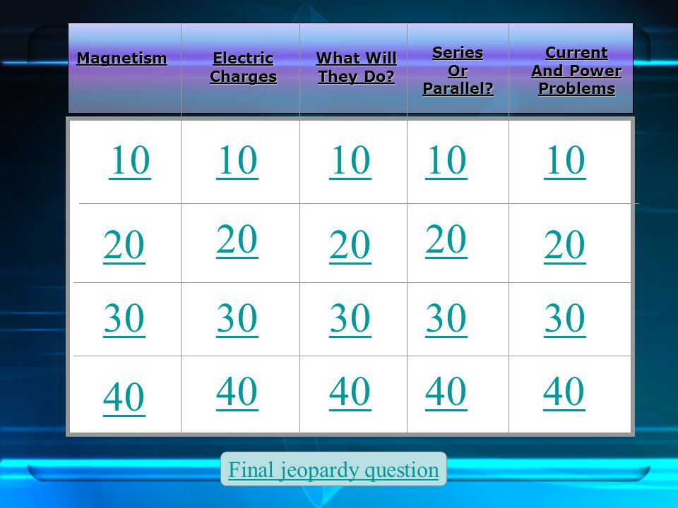 Back to menu Electric Charge and Magnetism Review Jeopardy Review Questions
