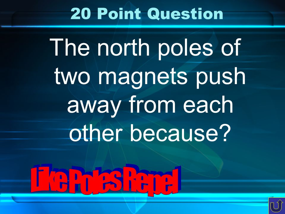 c-1 10 Point Question All magnets have two poles…name them