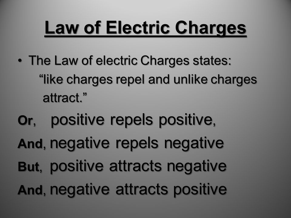 Law of Electric Charges There are two types of electric charge.There are two types of electric charge.