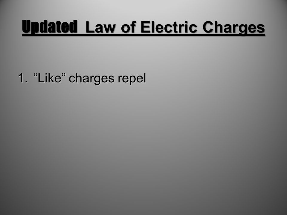 Updated Law of Electric Charges
