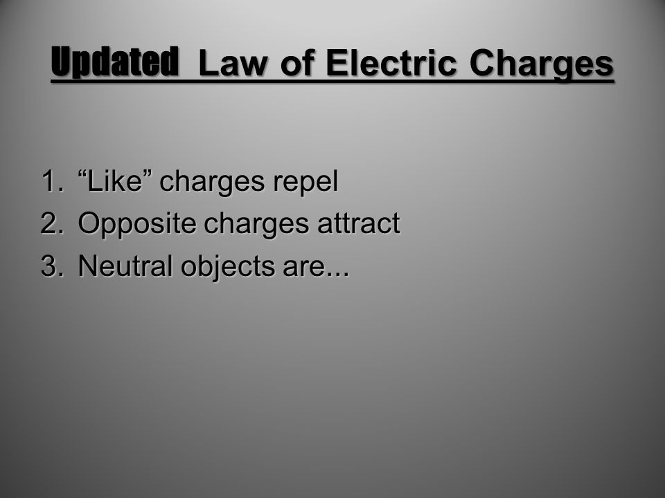 Updated Law of Electric Charges 1. Like charges repel 2.Opposite charges attract