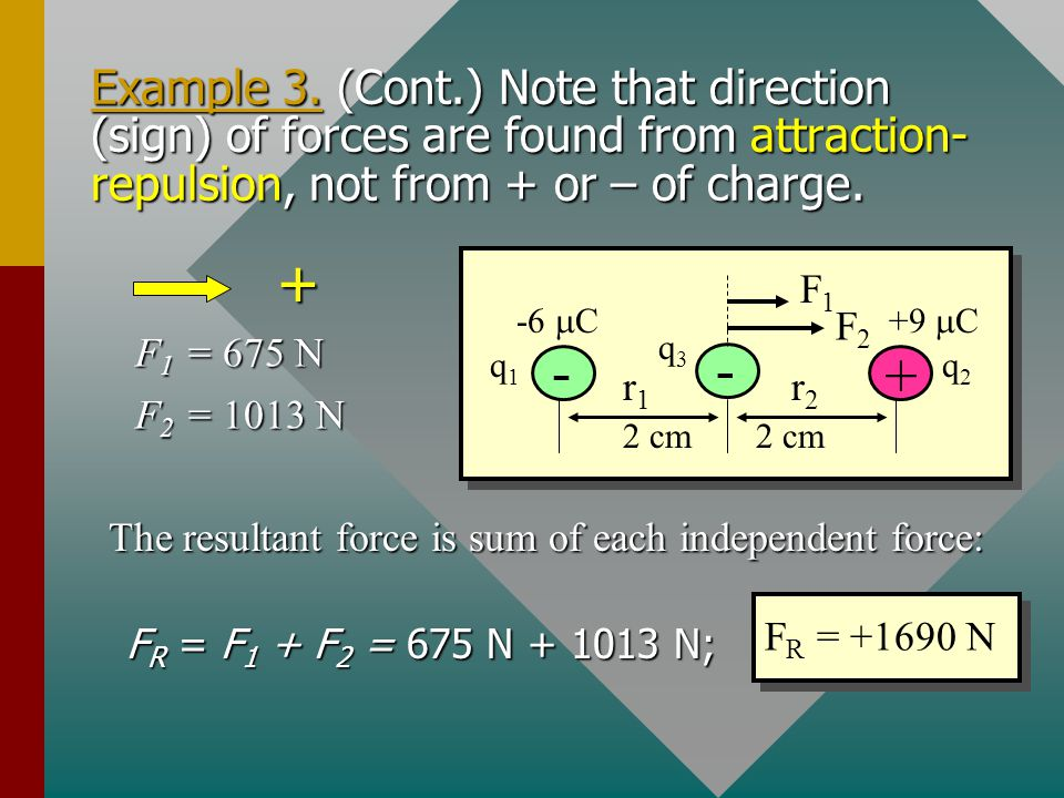 Example 3. A –6  C charge is placed 4 cm from a +9  C charge. What is the resultant force on a –5  C charge located midway between the first charge