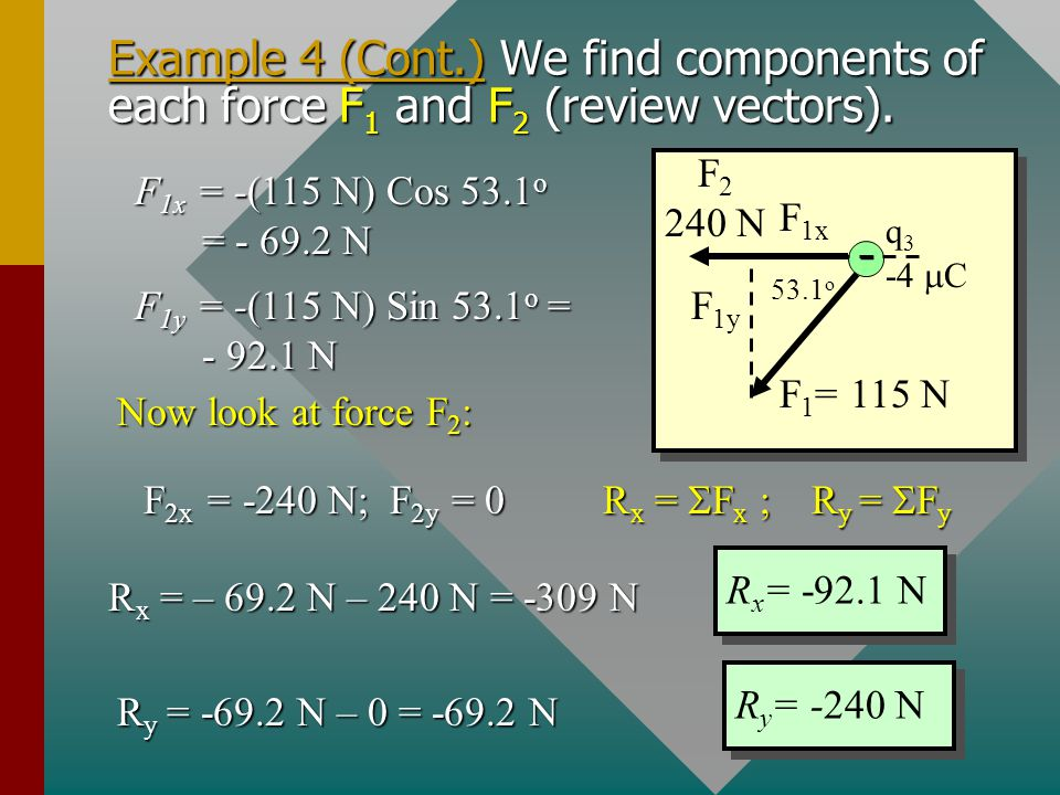 Example 4 (Cont.) Next we find the forces F 1 and F 2 from Coulomb's law. Take data from the figure and use SI units. F 1 = 115 N, 53.1 o S of W F 2 =