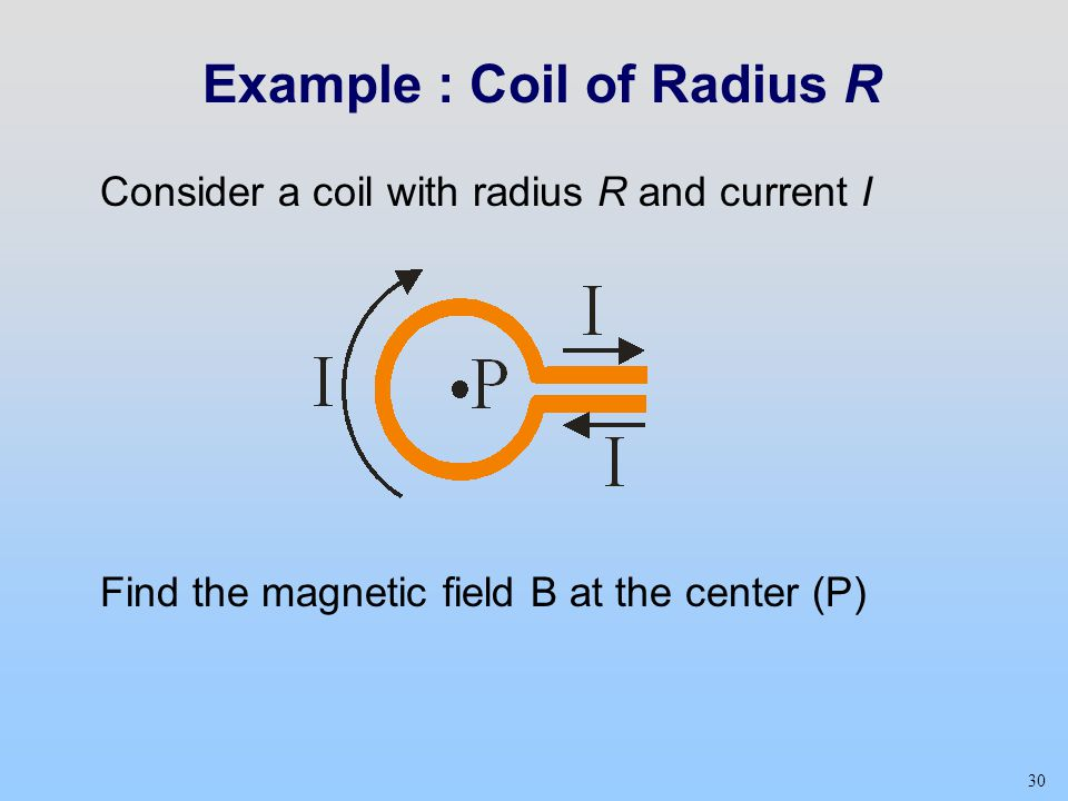 30 Example : Coil of Radius R Consider a coil with radius R and current I Find the magnetic field B at the center (P)