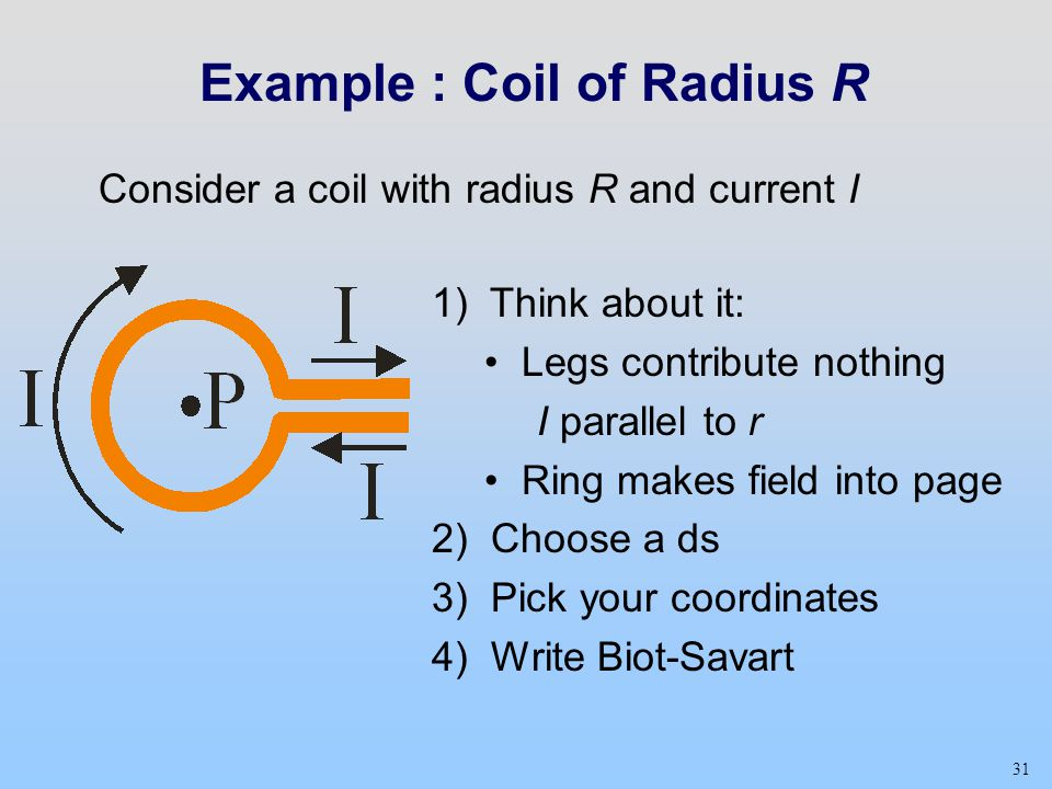 31 Example : Coil of Radius R Consider a coil with radius R and current I 1) Think about it: Legs contribute nothing I parallel to r Ring makes field into page 2) Choose a ds 3) Pick your coordinates 4) Write Biot-Savart