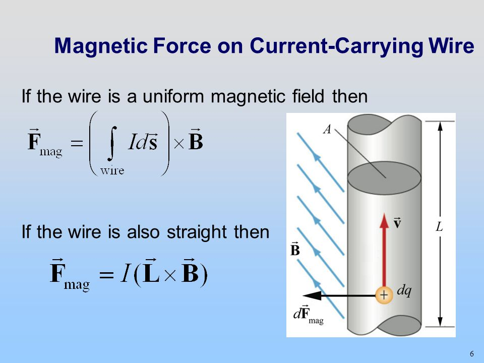 6 If the wire is a uniform magnetic field then If the wire is also straight then