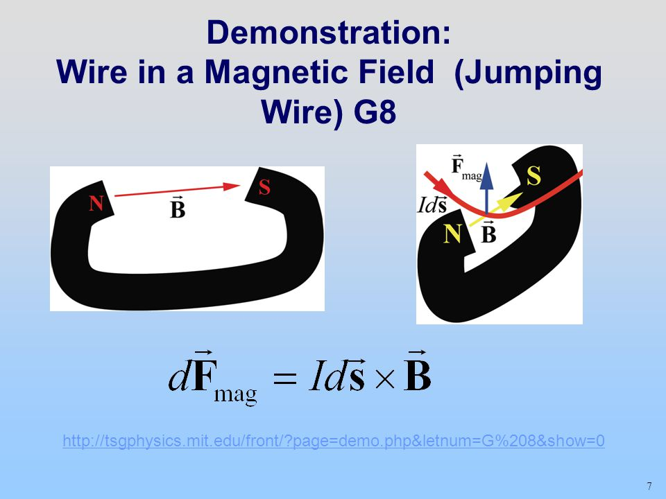 Demonstration: Wire in a Magnetic Field (Jumping Wire) G8 7 http://tsgphysics.mit.edu/front/ page=demo.php&letnum=G%208&show=0