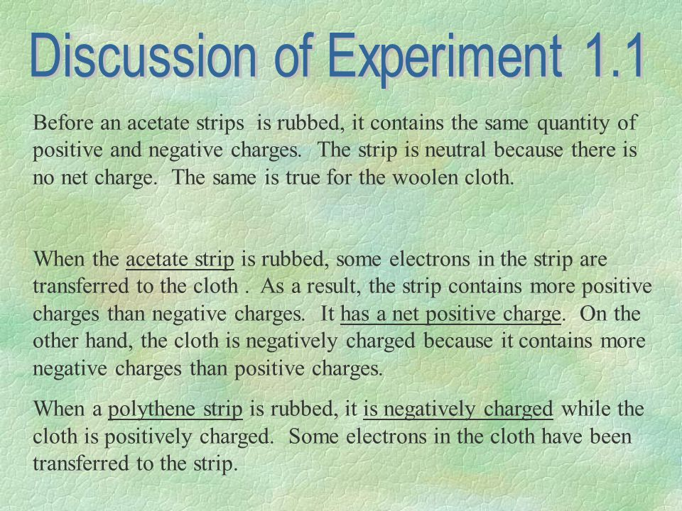 Before an acetate strips is rubbed, it contains the same quantity of positive and negative charges.