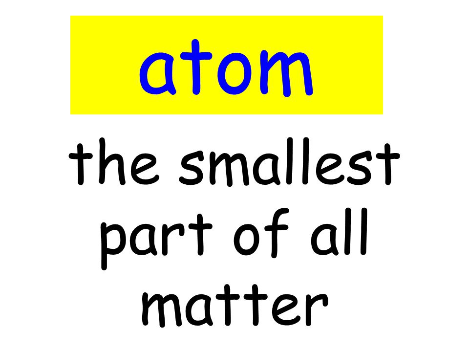the smallest part of all matter atom