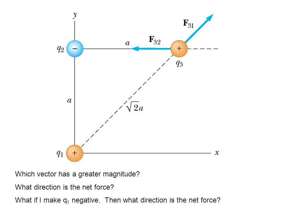 Which vector has a greater magnitude. What direction is the net force.