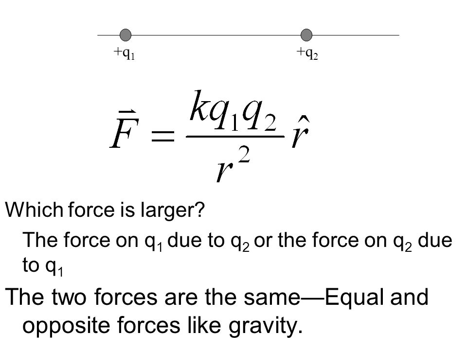 Which force is larger? The force on q 1 due to q 2 or the force on q 2 due to q 1 The two forces are the same—Equal and opposite forces like gravity.