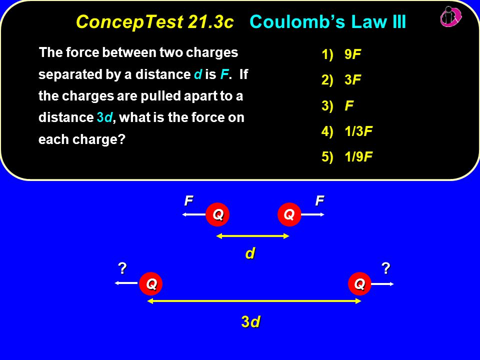 1) 9F 2) 3F 3) F 4) 1/3F 5) 1/9F The force between two charges separated by a distance d is F.