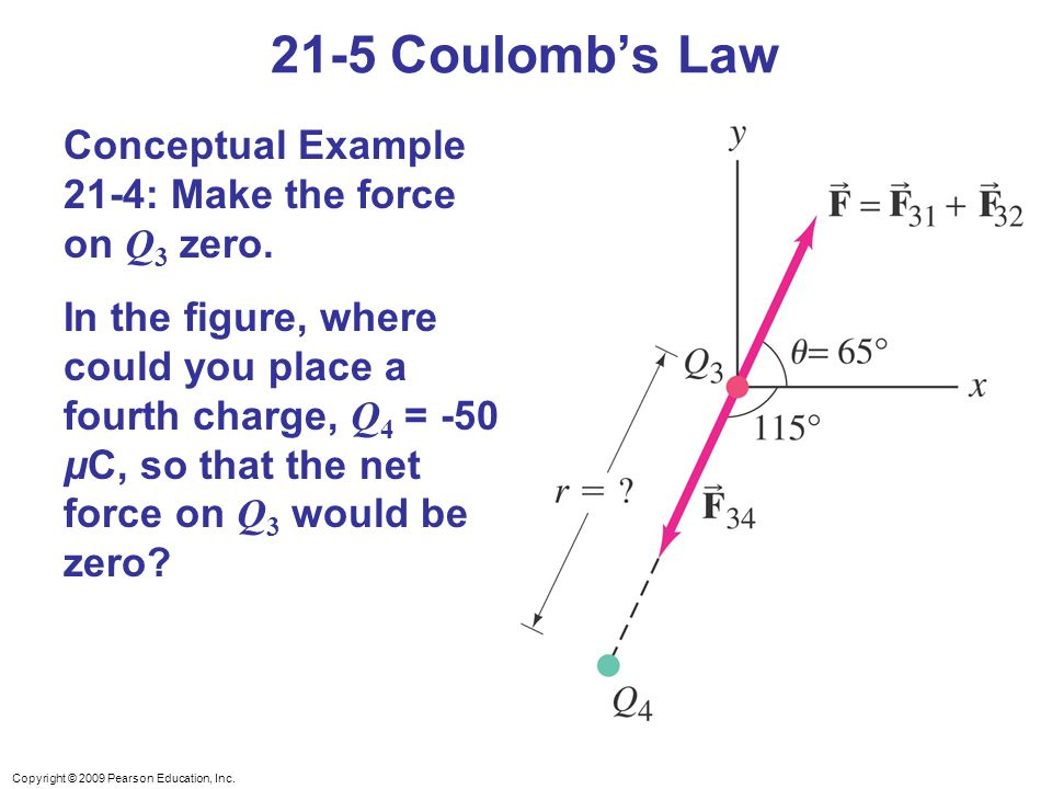 Copyright © 2009 Pearson Education, Inc. 21-5 Coulomb's Law Conceptual Example 21-4: Make the force on Q 3 zero. In the figure, where could you place