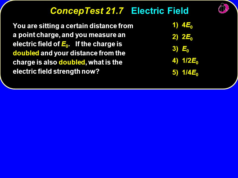 4E 0 1) 4E 0 2E 0 2) 2E 0 E 0 3) E 0 1/2E 0 4) 1/2E 0 4E 0 5) 1/4E 0 You are sitting a certain distance from a point charge, and you measure an electr
