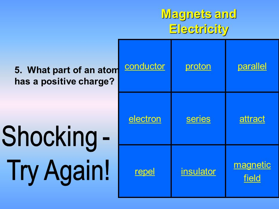 conductorprotonparallel electronseriesattract repelinsulator magnetic field Magnets and Electricity 5. What part of an atom has a positive charge?